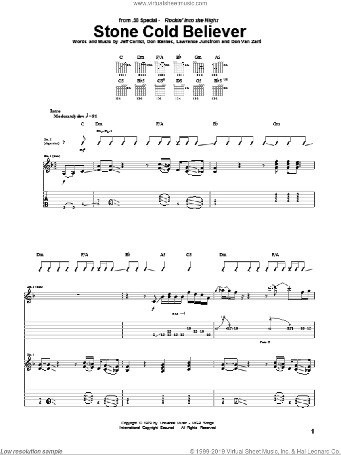 Stone Cold Believer sheet music for guitar (tablature) by Lawrence Junstrom and Jeff Carlisi. Score Image Preview.