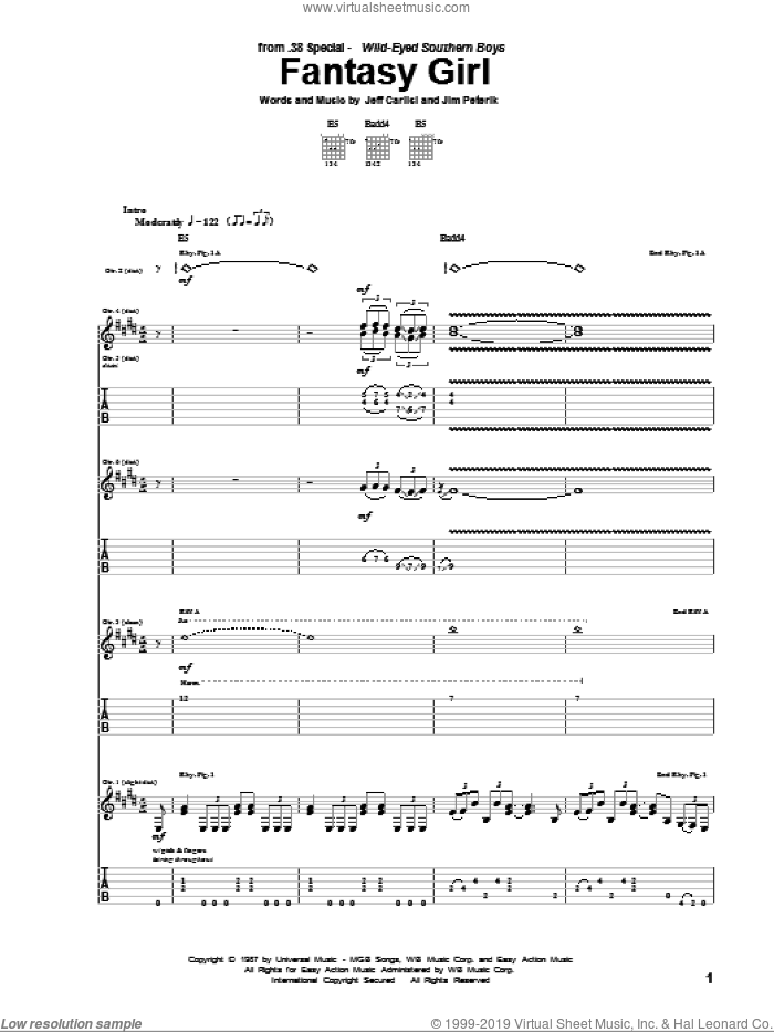 Fantasy Girl sheet music for guitar (tablature) by Jim Peterik and Jeff Carlisi. Score Image Preview.
