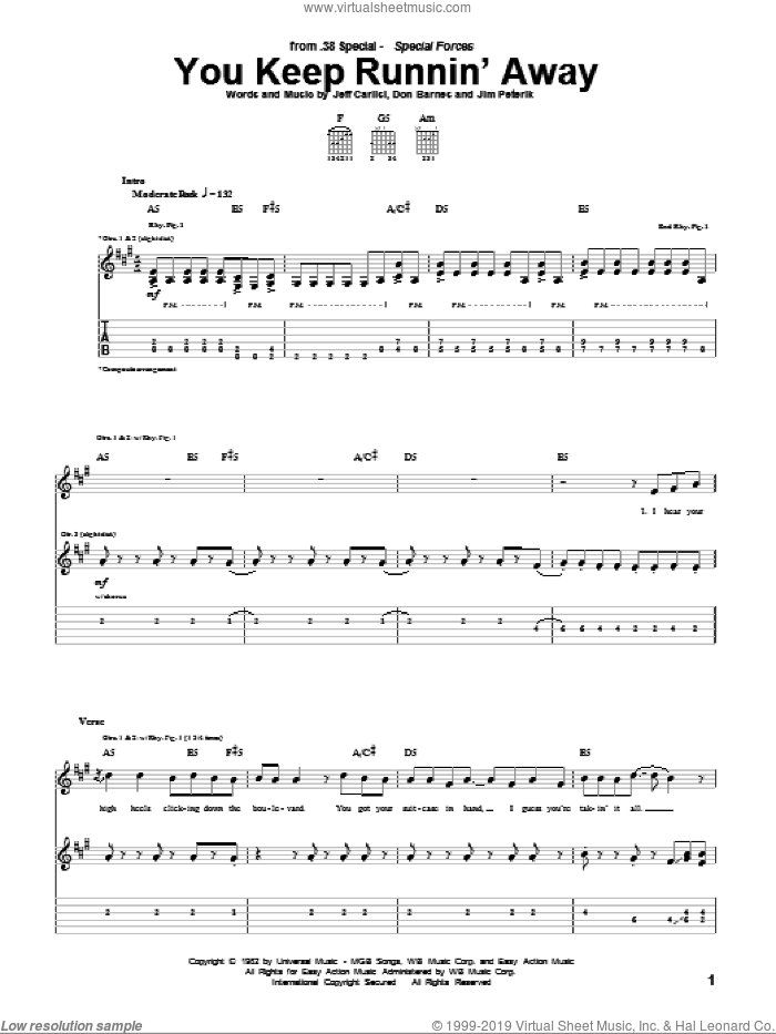 You Keep Runnin' Away sheet music for guitar (tablature) by 38 Special, Don Barnes, Jeff Carlisi and Jim Peterik, intermediate skill level