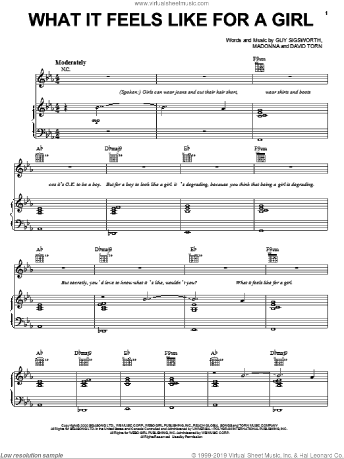 What It Feels Like For A Girl sheet music for voice, piano or guitar by Madonna, Miscellaneous, David Torn and Guy Sigsworth, intermediate skill level