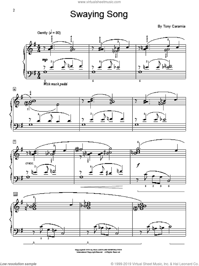 Swaying Song sheet music for piano solo (elementary) by Tony Caramia and Miscellaneous. Score Image Preview.
