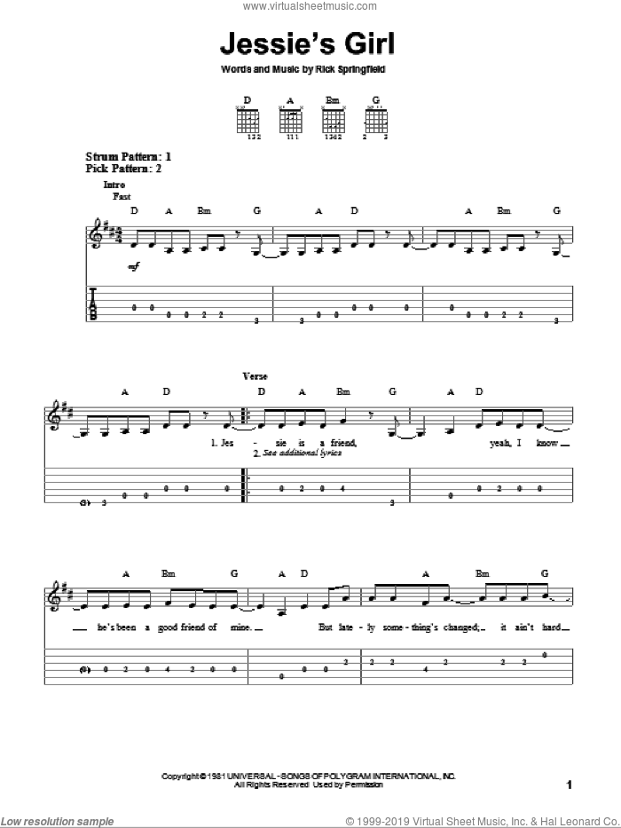 Jessie's Girl sheet music for guitar solo (easy tablature) by Rick Springfield, easy guitar (easy tablature)