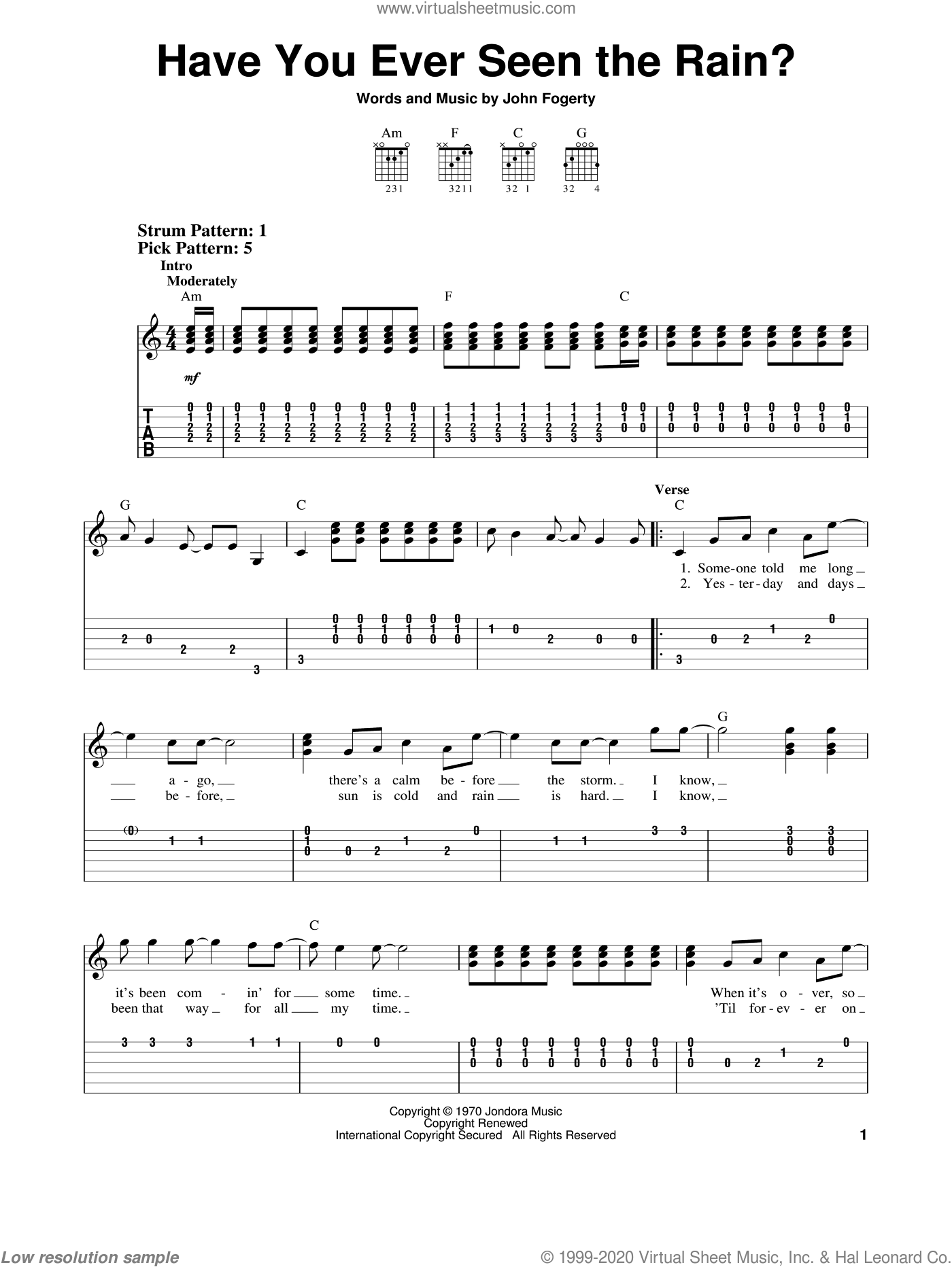 Have You Ever Seen The Rain? sheet music for guitar solo (easy tablature) by Creedence Clearwater Revival and John Fogerty, easy guitar (easy tablature)