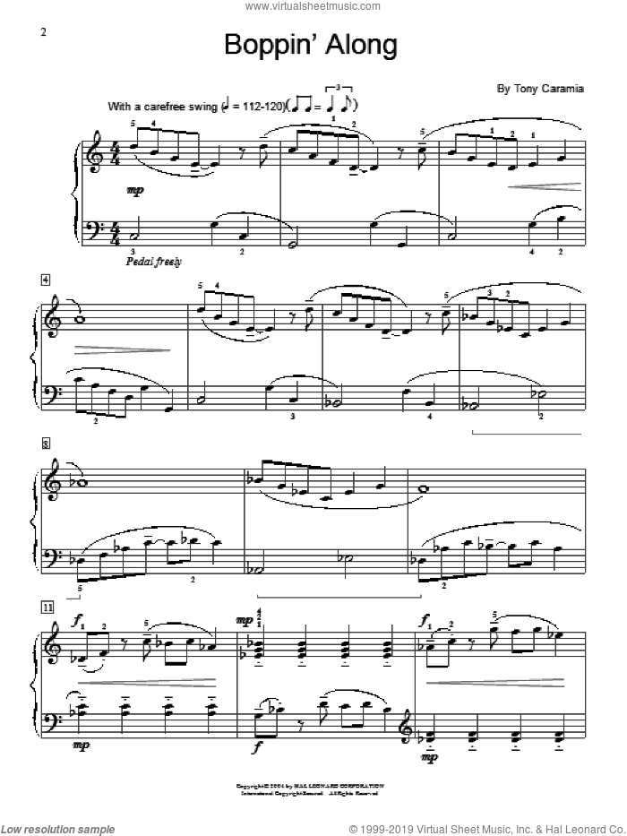 Boppin' Along sheet music for piano solo (elementary)  and Tony Caramia. Score Image Preview.