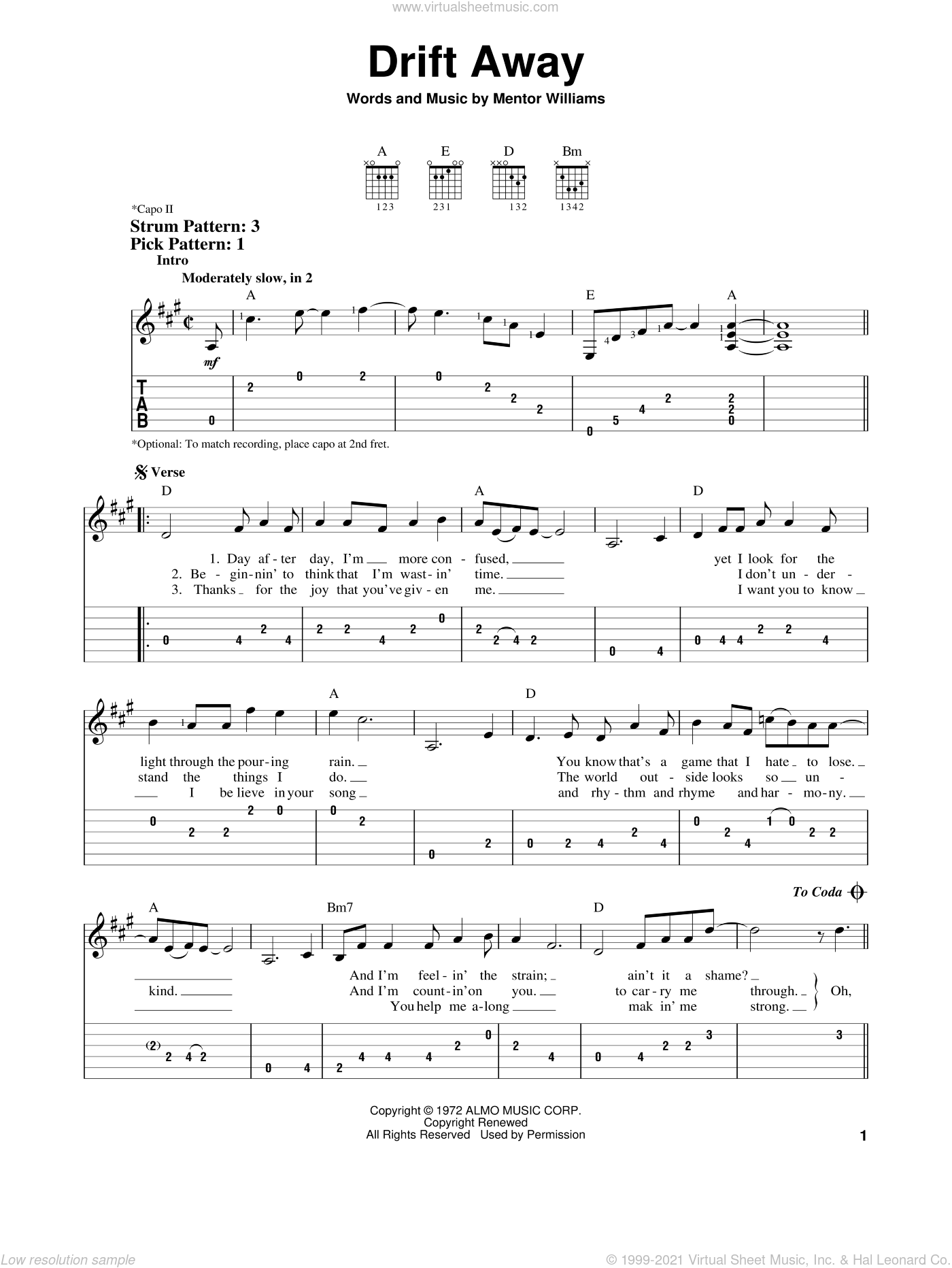 Drift Away sheet music for guitar solo (easy tablature) by Dobie Gray and Mentor Williams, easy guitar (easy tablature)
