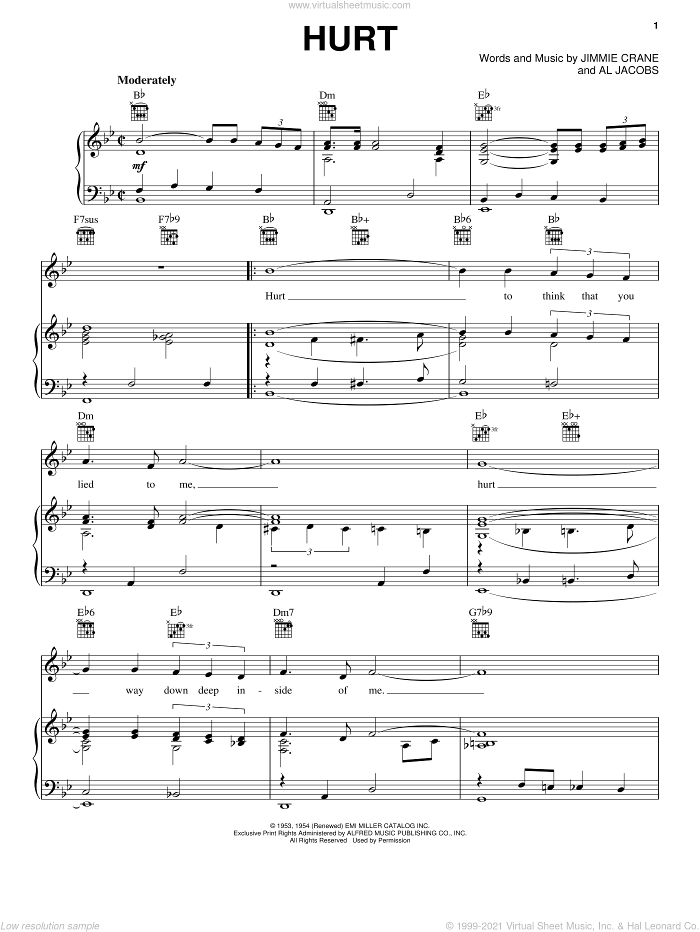 Hurt sheet music for voice, piano or guitar by Elvis Presley, Al Jacobs and Jimmie Crane, intermediate