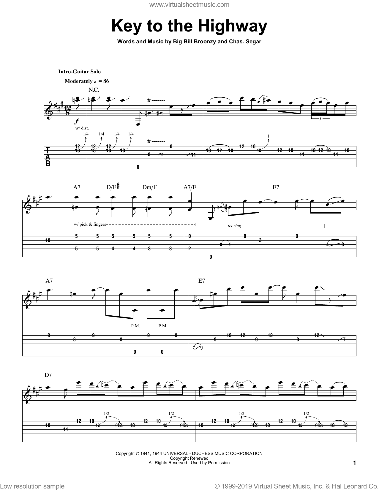 Key To The Highway sheet music for guitar (tablature, play-along) by Charles Segar, Eric Clapton and Big Bill Broonzy. Score Image Preview.