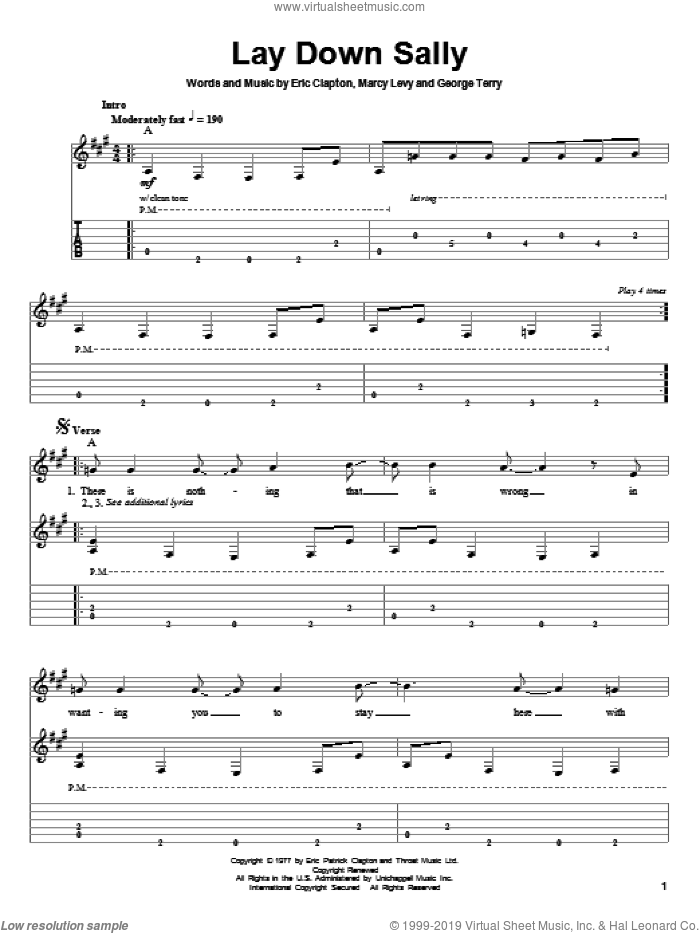Lay Down Sally sheet music for guitar (tablature, play-along) by Eric Clapton, intermediate. Score Image Preview.