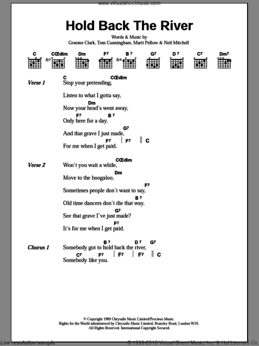 Hold Back The River sheet music for guitar (chords, lyrics, melody) by Tom Cunningham