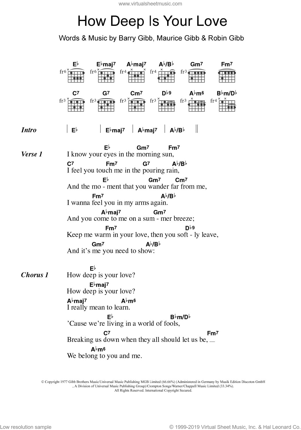 How Deep Is Your Love sheet music for guitar (chords) by Take That, Bee Gees, Barry Gibb, Maurice Gibb and Robin Gibb, intermediate