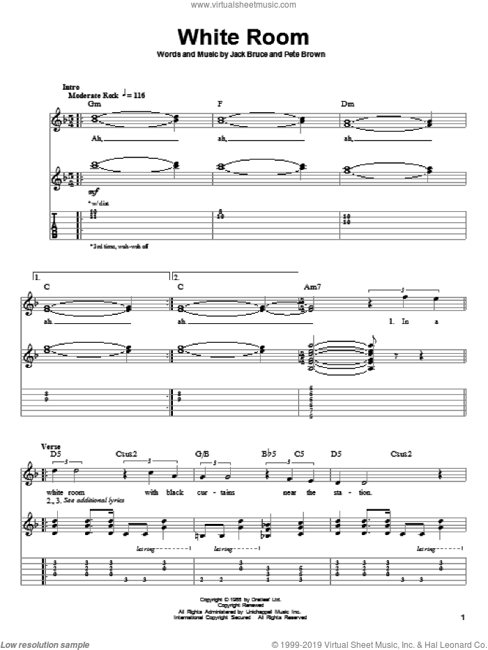 White Room sheet music for guitar (tablature, play-along) by Cream, Eric Clapton, Jack Bruce and Pete Brown, intermediate. Score Image Preview.