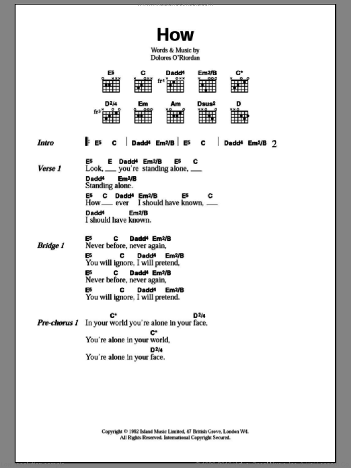 How sheet music for guitar (chords) by The Cranberries, intermediate skill level