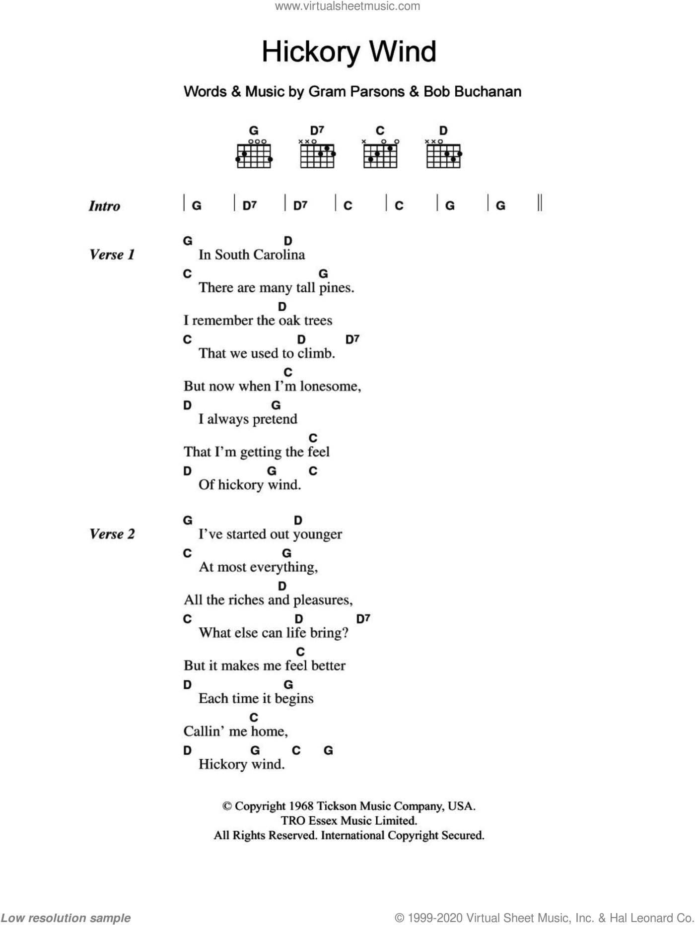 Parsons   Hickory Wind sheet music for guitar chords [PDF]