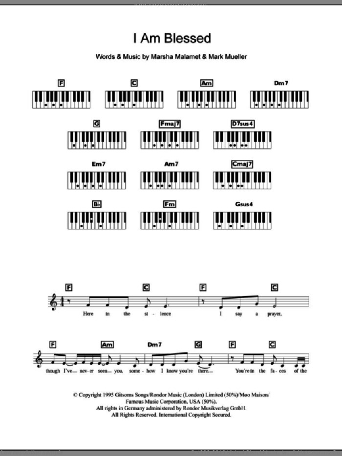 I Am Blessed sheet music for piano solo (chords, lyrics, melody) by Eternal, Mark Mueller and Marsha Malamet, intermediate piano (chords, lyrics, melody)