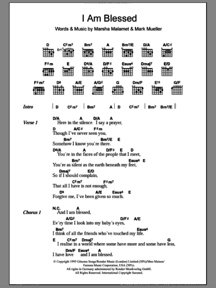 I Am Blessed sheet music for guitar (chords, lyrics, melody) by Marsha Malamet