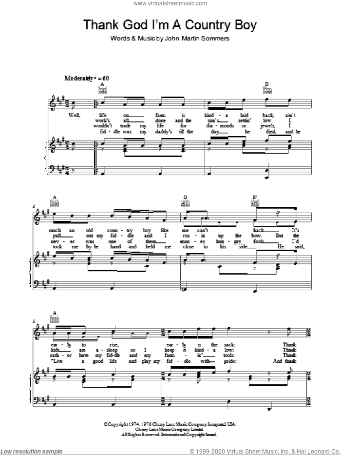 Thank God I'm A Country Boy sheet music for voice, piano or guitar by John Martin Summers