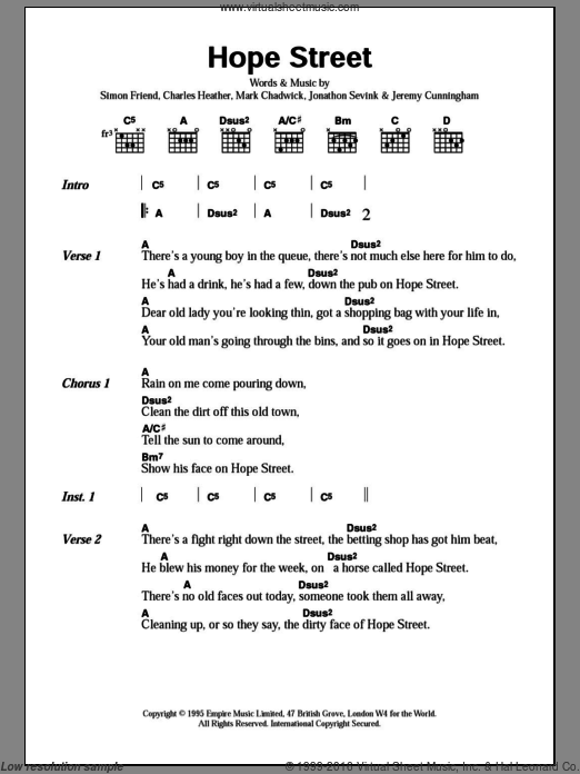 Hope Street sheet music for guitar (chords, lyrics, melody) by Simon Friend