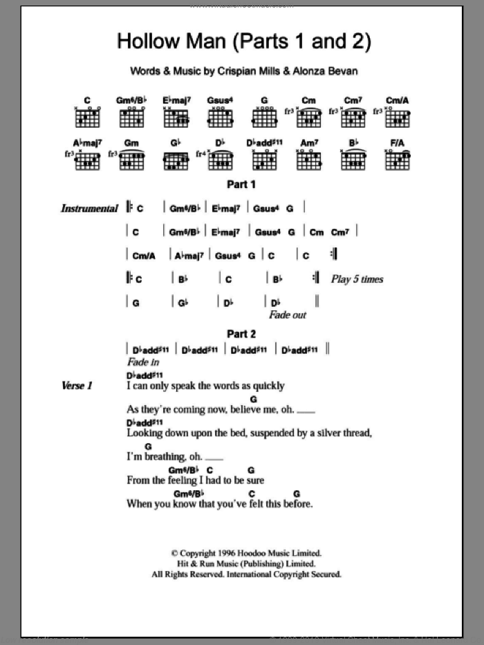 Hollow Man (Parts 1 and 2) sheet music for guitar (chords) by Kula Shaker. Score Image Preview.