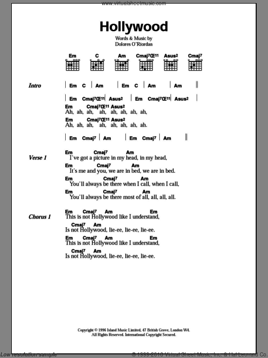 Hollywood sheet music for guitar (chords) by Dolores O'Riordan