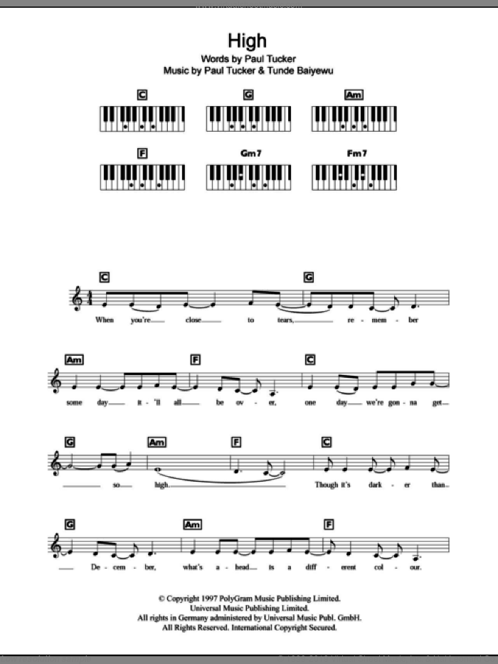 High sheet music for piano solo (chords, lyrics, melody) by Lighthouse Family. Score Image Preview.