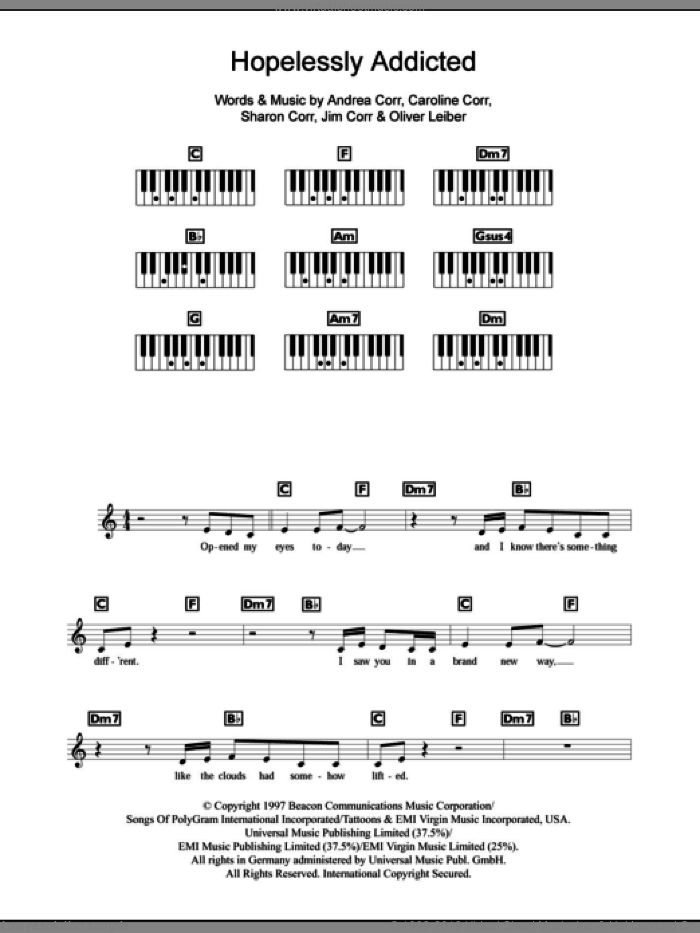 Hopelessly Addicted sheet music for piano solo (chords, lyrics, melody) by Sharon Corr, The Corrs, Andrea Corr and Oliver Leiber. Score Image Preview.