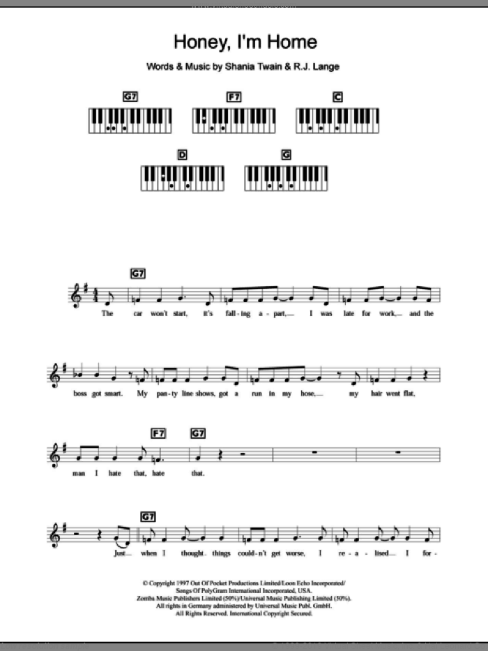 Honey, I'm Home sheet music for piano solo (chords, lyrics, melody) by Robert John Lange and Shania Twain. Score Image Preview.