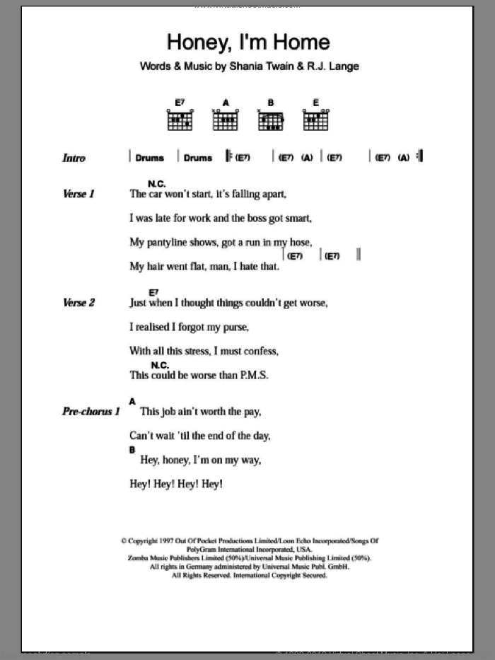 Honey, I'm Home sheet music for guitar (chords) by Robert John Lange and Shania Twain. Score Image Preview.