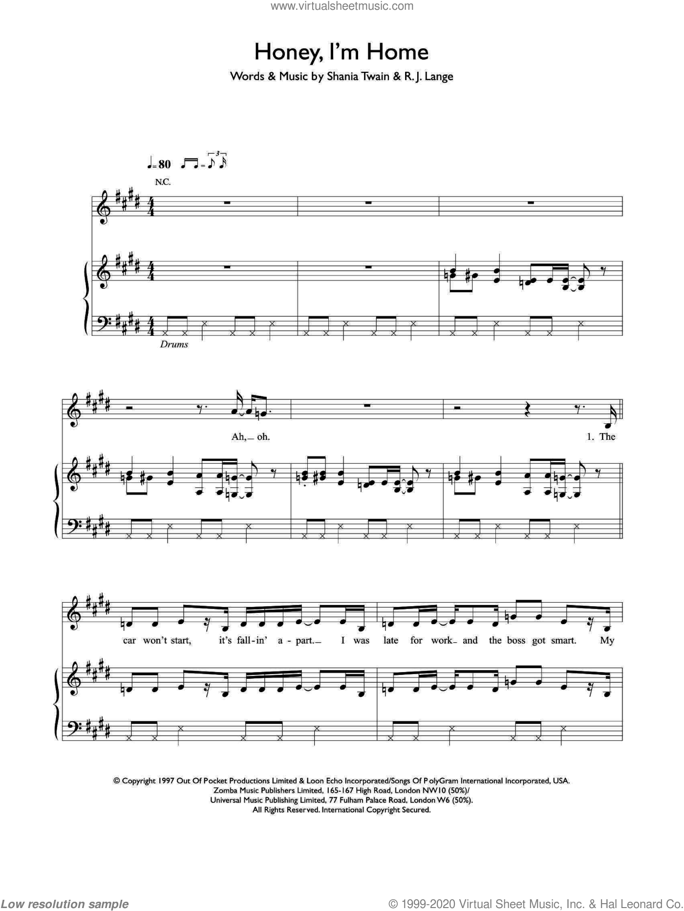 Honey, I'm Home sheet music for voice, piano or guitar by Shania Twain and Robert John Lange, intermediate. Score Image Preview.