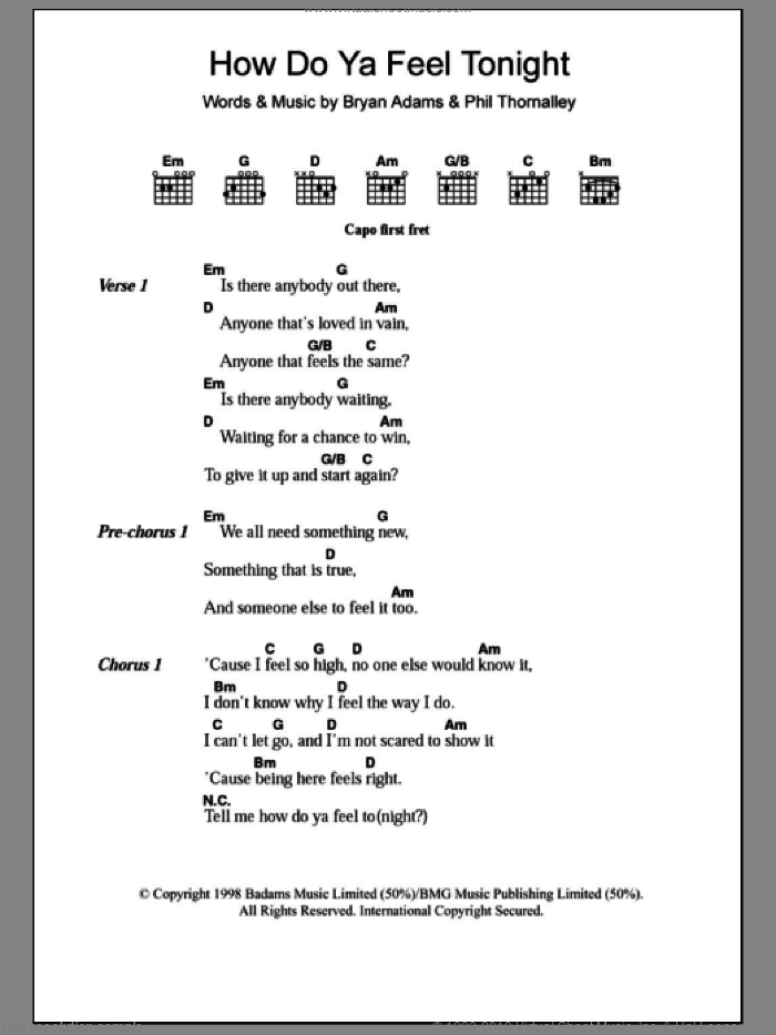How Do Ya Feel Tonight sheet music for guitar (chords) by Phil Thornalley and Bryan Adams. Score Image Preview.
