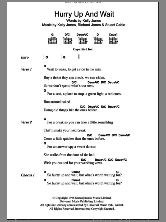 Hurry Up And Wait sheet music for guitar (chords) by Stereophonics, Kelly Jones, Richard Jones and Stuart Cable, intermediate skill level