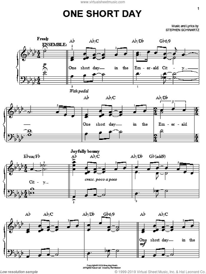 One Short Day (from Wicked) sheet music for piano solo by Stephen Schwartz and Wicked (Musical), easy skill level