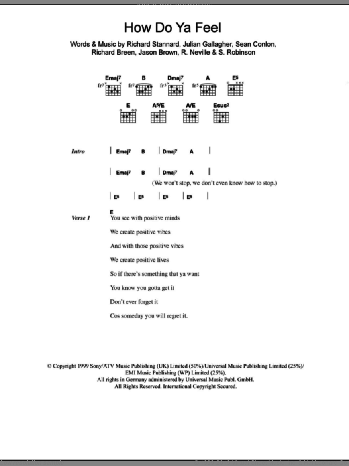 How Do Ya Feel sheet music for guitar (chords) by Sean Conlon