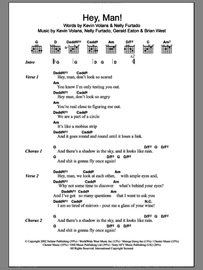 Hey, Man! sheet music for guitar (chords) by Kevin Volans