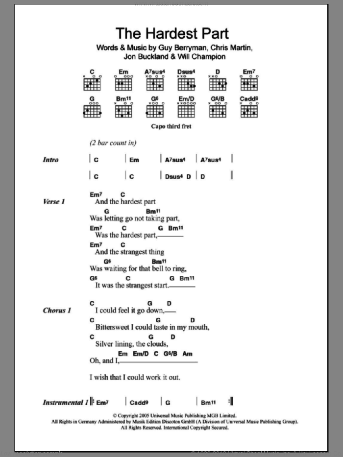 The Hardest Part sheet music for guitar (chords) by Will Champion, Coldplay, Chris Martin, Guy Berryman and Jon Buckland. Score Image Preview.
