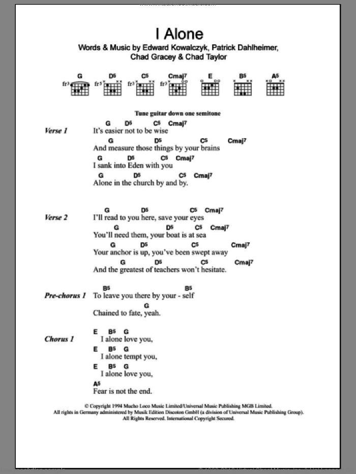 I Alone sheet music for guitar (chords) by Live, Chad Gracey, Chad Taylor, Edward Kowalczyk and Patrick Dahlheimer, intermediate skill level