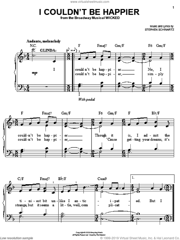 I Couldn't Be Happier sheet music for piano solo by Stephen Schwartz. Score Image Preview.