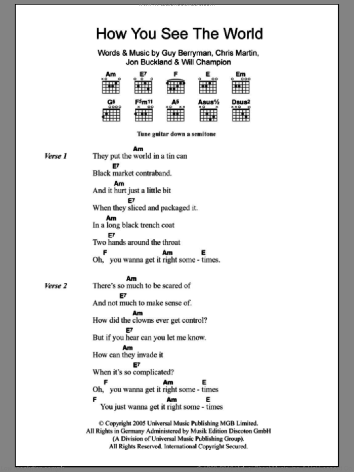 How You See The World sheet music for guitar (chords) by Will Champion, Coldplay, Chris Martin, Guy Berryman and Jon Buckland. Score Image Preview.