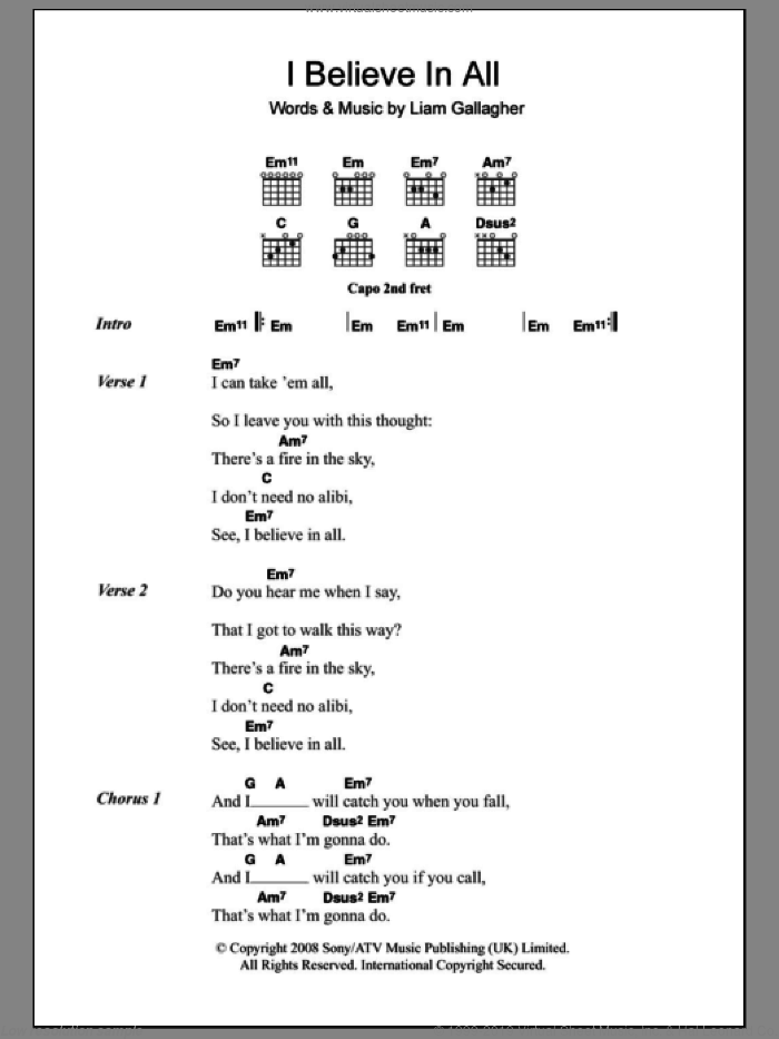 I Believe In All sheet music for guitar (chords) by Oasis. Score Image Preview.