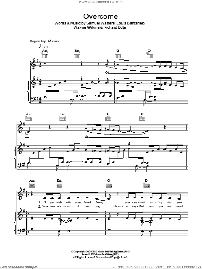 Overcome sheet music for voice, piano or guitar by Alexandra Burke, Louis Biancaniello, Richard Butler, Sam Watters and Wayne Wilkins, intermediate. Score Image Preview.