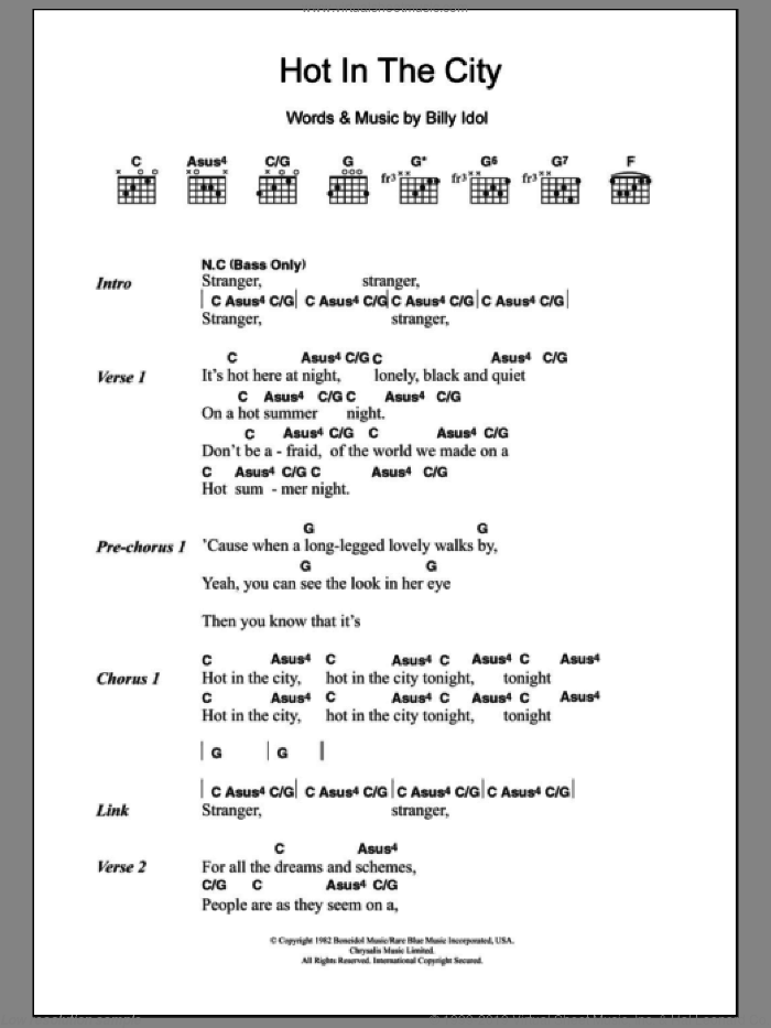 Hot In The City sheet music for guitar (chords) by Billy Idol. Score Image Preview.