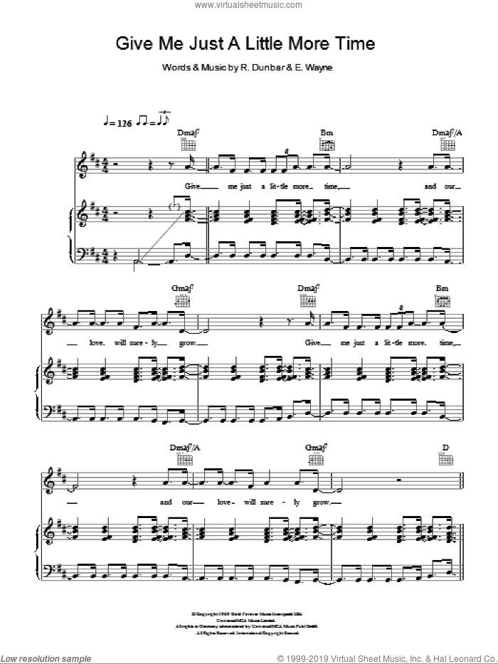 Give Me Just A Little More Time sheet music for voice, piano or guitar by Ronald Dunbar and Kylie Minogue. Score Image Preview.