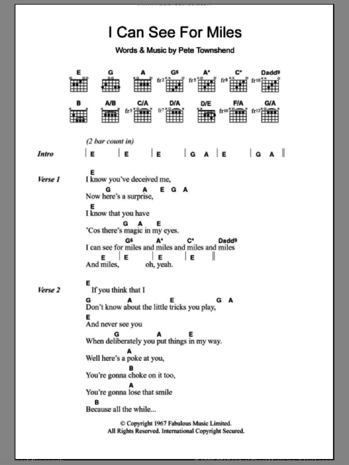 I Can See For Miles sheet music for guitar (chords) by Pete Townshend and The Who. Score Image Preview.