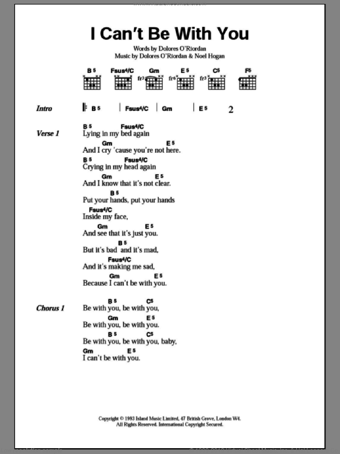 I Can't Be With You sheet music for guitar (chords) by The Cranberries and Noel Hogan, intermediate skill level