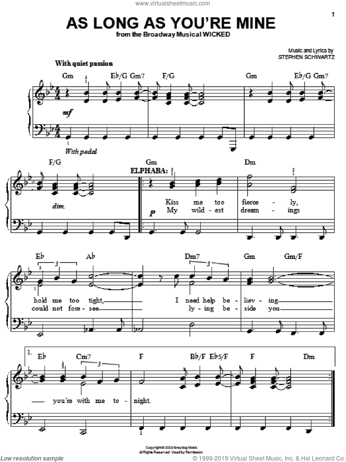 As Long As You're Mine sheet music for piano solo by Stephen Schwartz and Wicked (Musical), easy skill level