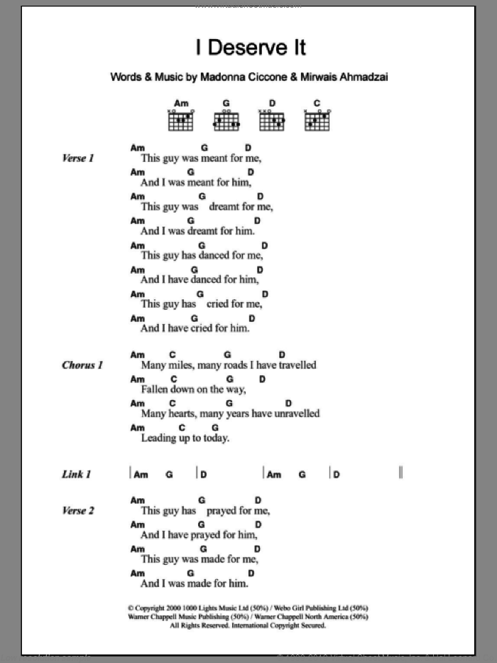 I Deserve It sheet music for guitar (chords) by Mirwais Ahmadzai and Madonna. Score Image Preview.
