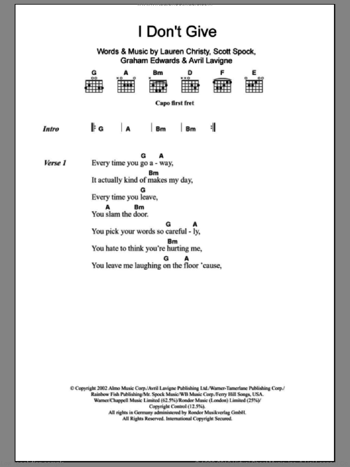 Lavigne I Dont Give Sheet Music For Guitar Chords