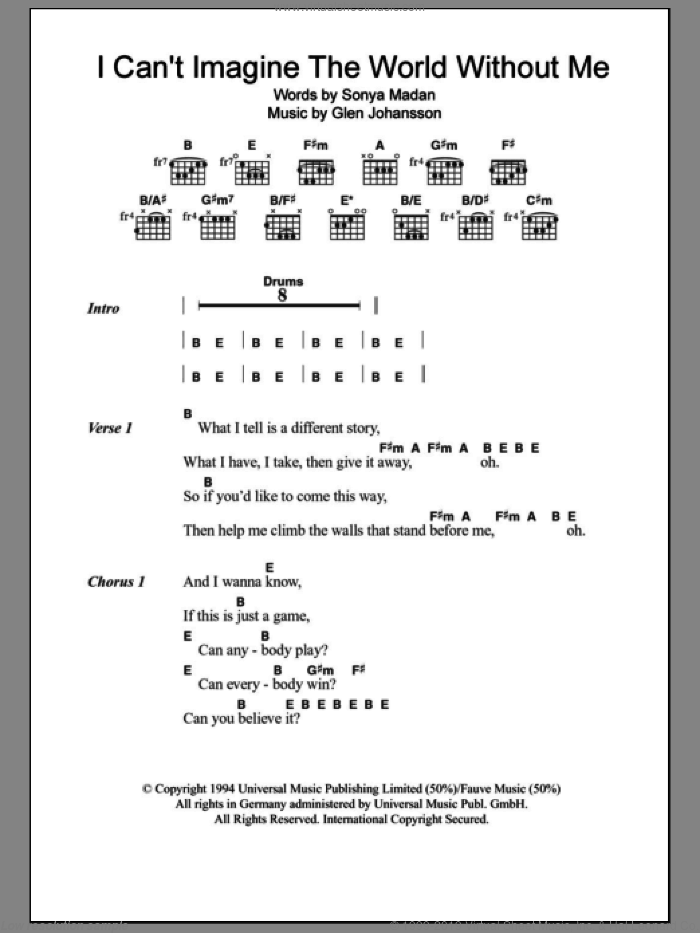 I Can't Imagine The World Without Me sheet music for guitar (chords) by Echobelly. Score Image Preview.