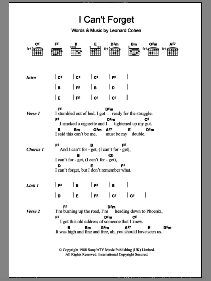 I Can't Forget sheet music for guitar (chords, lyrics, melody) by Leonard Cohen