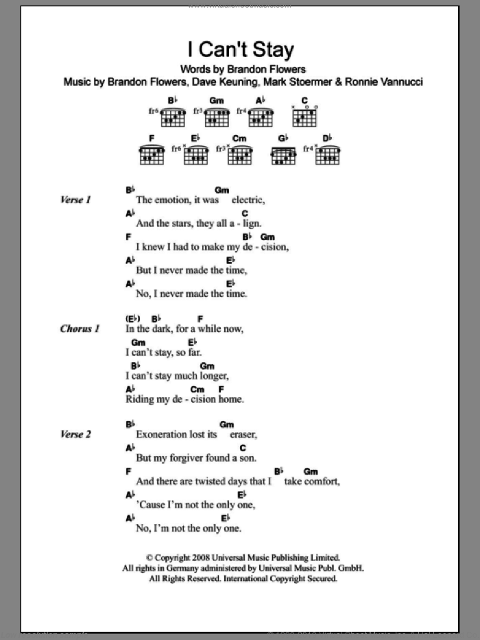 I Can't Stay sheet music for guitar (chords) by Ronnie Vannucci
