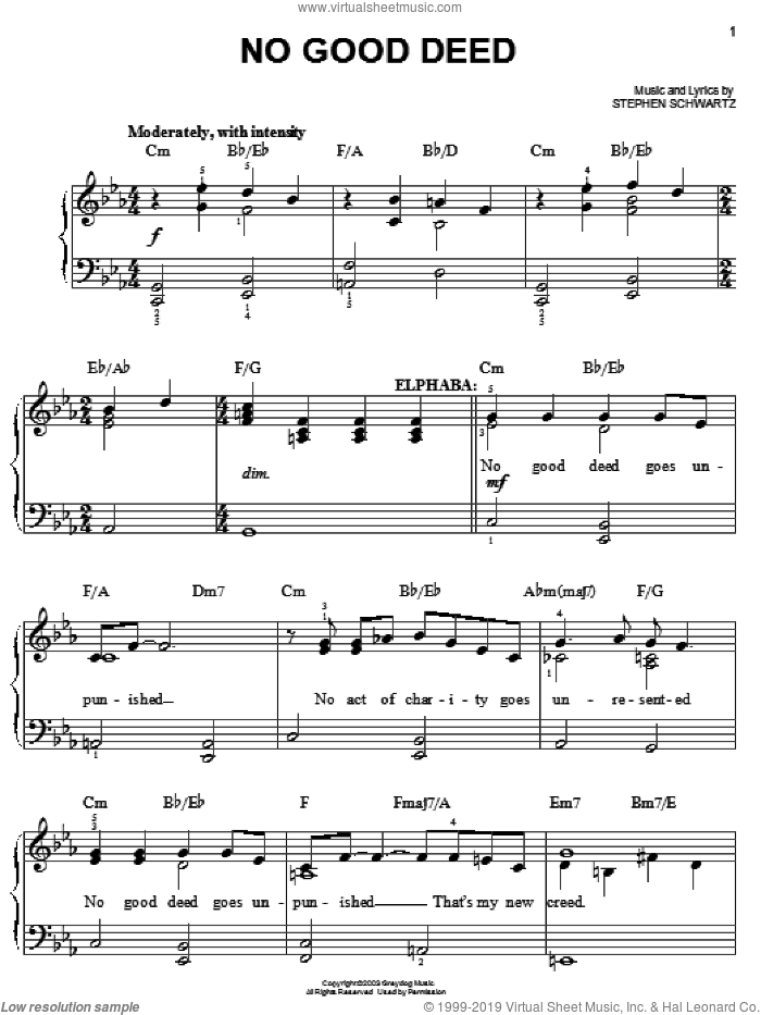 No Good Deed sheet music for piano solo by Stephen Schwartz and Wicked (Musical), easy skill level